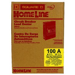 Square D HomeLine 100 amps 120/240 volt 6 space 12 circuits Flush Mount Main Lug Load Center