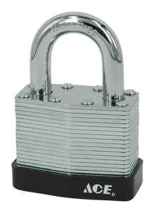Ace  1-1/16 in. H x 1-3/16 in. W x 11/16 in. L Laminated Steel  Pin Tumbler  Padlock  1 pk