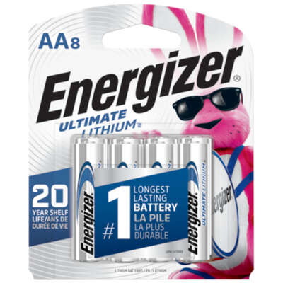 Energizer Ultimate Lithium AA 1.5 volt Electronics Battery L91BP-8 8 pk