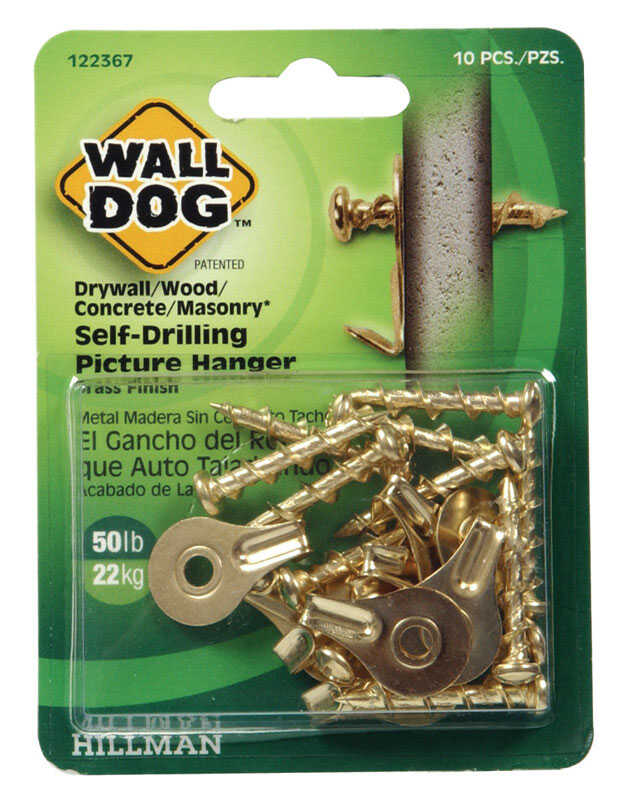 HILLMAN  WALL DOG  Brass-Plated  Steel  Picture Hanger  50 lb. 10 pk Self-Drilling