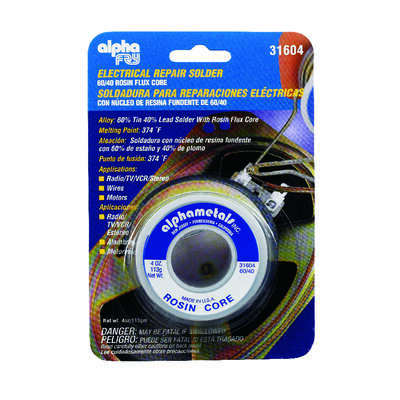 Alpha Fry  4 oz. Repair Solder  0.06 in. Dia. Tin/Lead  60/40  1 pc.