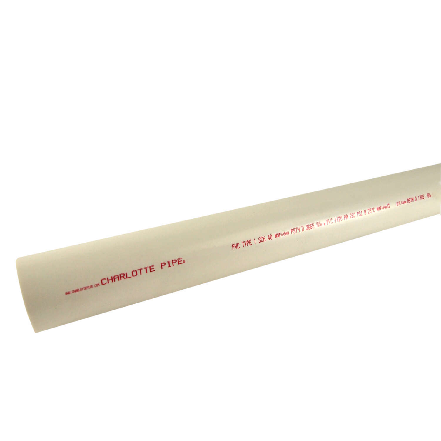 Charlotte Pipe  Schedule 40  PVC  Dual Rated Pipe  4 in. Dia. x 20 ft. L Plain End  220 psi
