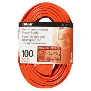 Woods  14/3 SJTW  300 volt 100 ft. L Power Cord