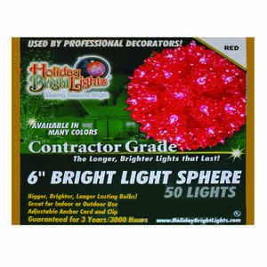 Holiday Bright Lights  Incandescent  Contractor  Sphere Light  Red  12 ft. 50 lights