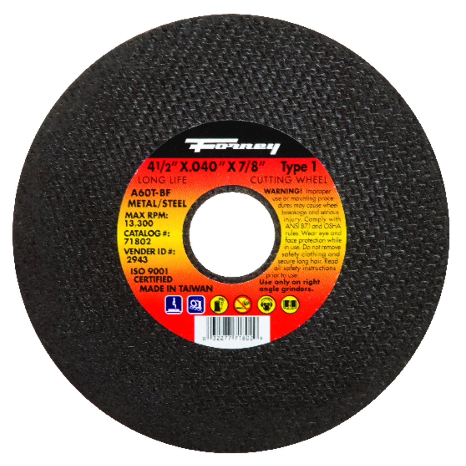Forney  4-1/2 in. Metal Cut-Off Wheel  7/8 in.  x .040 in. thick  1 pc. Aluminum Oxide