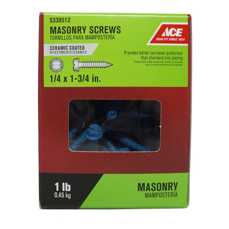 Ace  1/4 in.   x 1-3/4 in. L Slotted  Hex Washer Head Ceramic  Steel  Masonry Screws  1 lb. 63 each