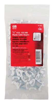 Gardner Bender  1/2 in. W Plastic  Insulated Cable Staple  100 pk