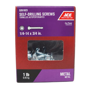 Ace  1/4-14 Sizes  x 3/4 in. L Hex Washer Head Zinc-Plated  Steel  Self- Drilling Screws  1 lb.