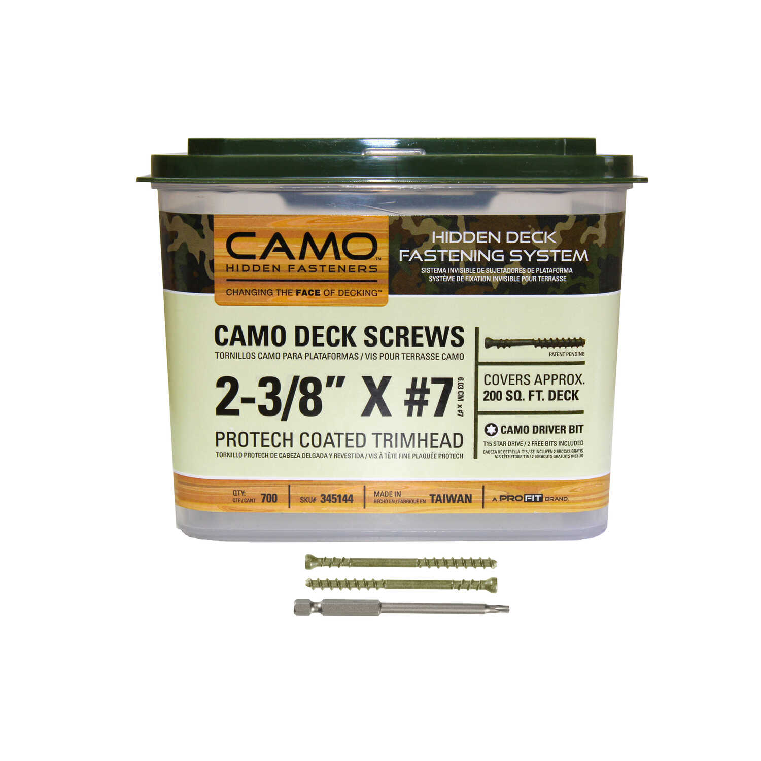 CAMO  No. 7   x 2-3/8 in. L Star  Trim Head Protech Coated  Carbon Steel  Deck Screws  700 EA