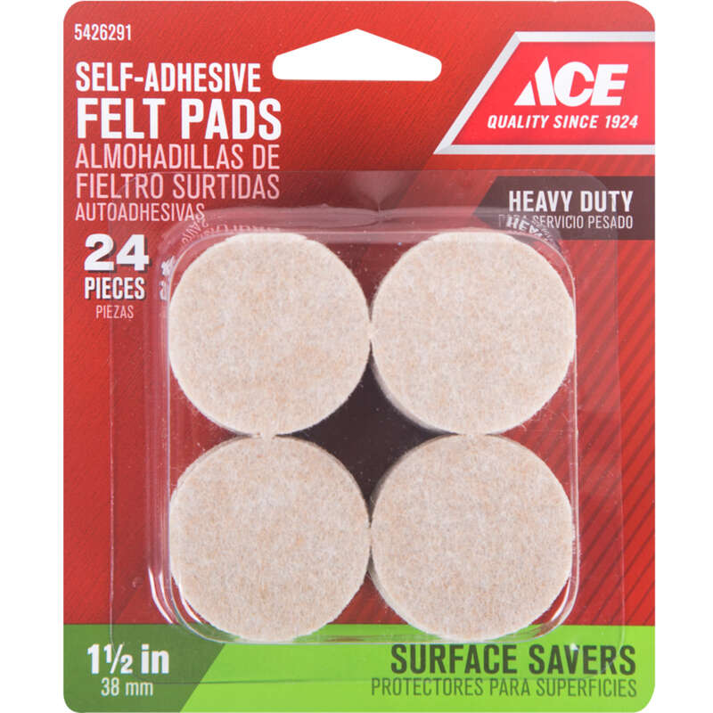 Ace  Felt  Self Adhesive Pad  Brown  Round  1-1/2 in. W 24 pk