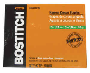 Bostitch  3/4 in. L x 7/32 in. W Narrow Crown  Caps and Staples  5000 pk