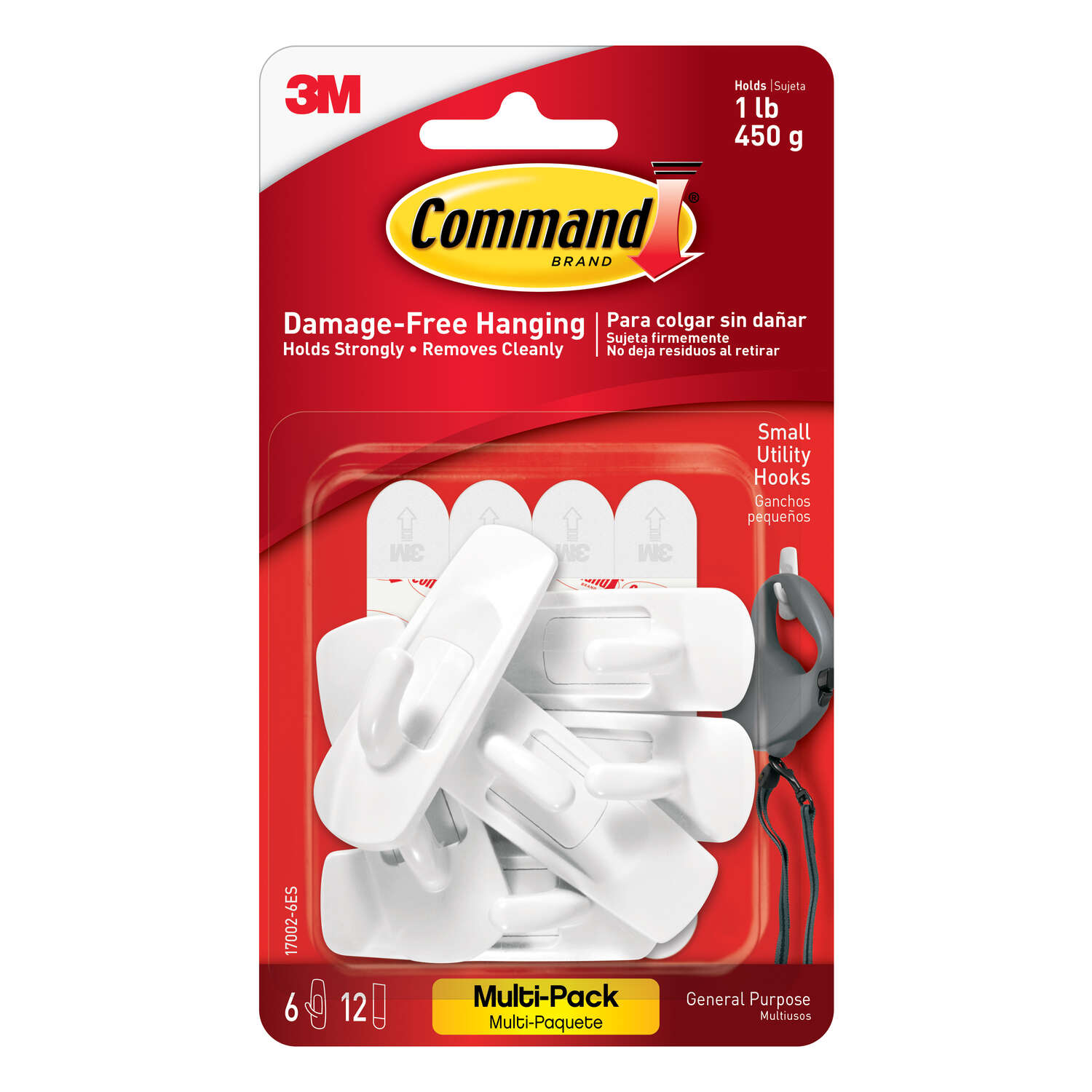 3M  Command  Small  Plastic  Hook  2-3/8 in. L 6 pk