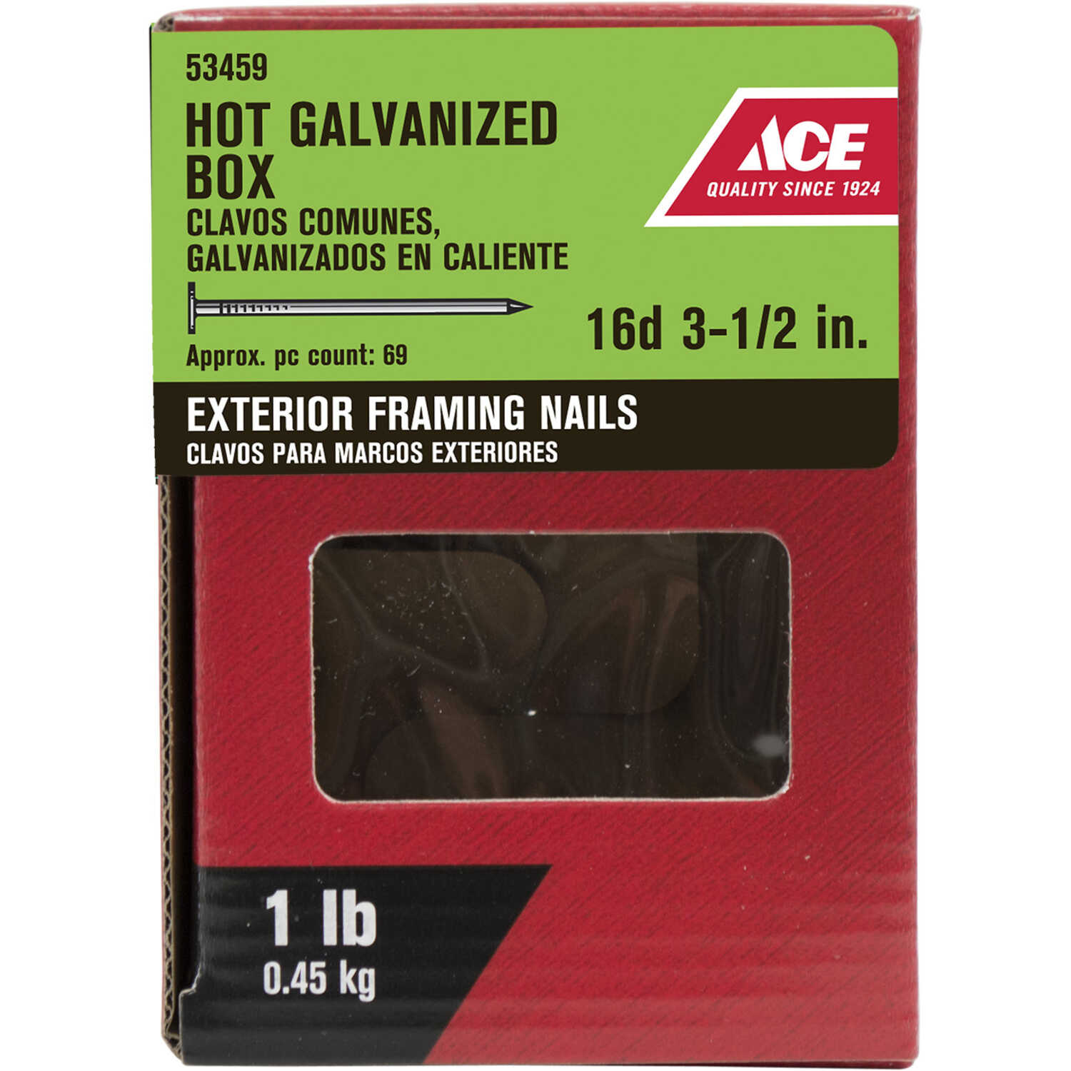 Ace  16D  3-1/2 in. L Box  Steel  Nail  Flat Head Thin Shank  1 pk