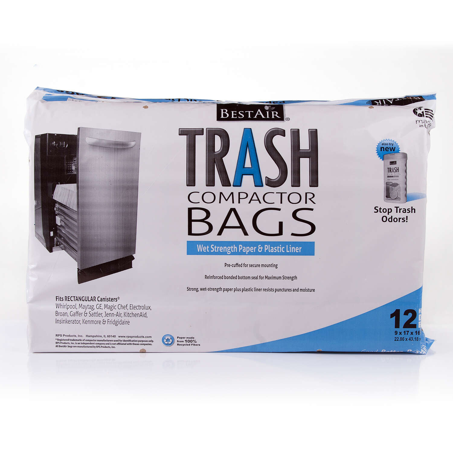 BestAir 10 gal. Unscented Scent Compactor Bags Flat Top 12 pk