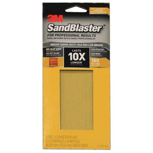 3M  SandBlaster  9 in. L x 3-2/3 in. W 180 Grit Medium  Ceramic  Sandpaper  6 pk