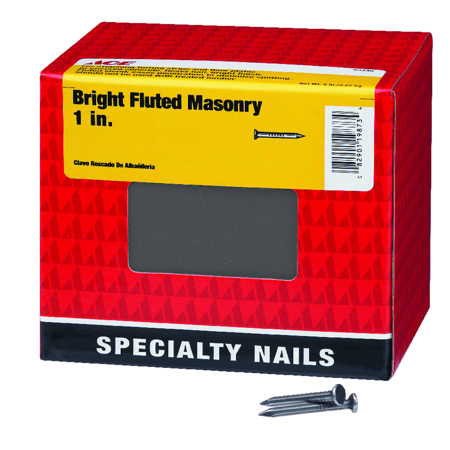 Ace  1 in. L Masonry  Steel  Nail  Flat  Fluted Shank  1  5 lb.