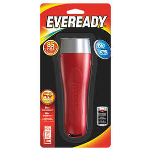 Eveready  65 lumens Red  LED  Flashlight  D Battery