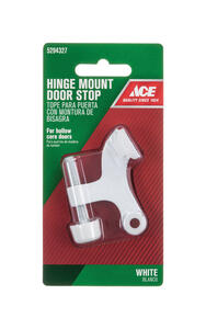 Ace  1.6 in. H Metal  White  Hinge Pin Door Stop  Mounts to door