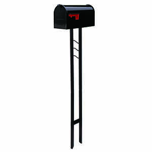 Gibraltar  Contemporary  Galvanized Steel  Post and Box Combo  Black  Mailbox w/Post  50.9 in. H x 6