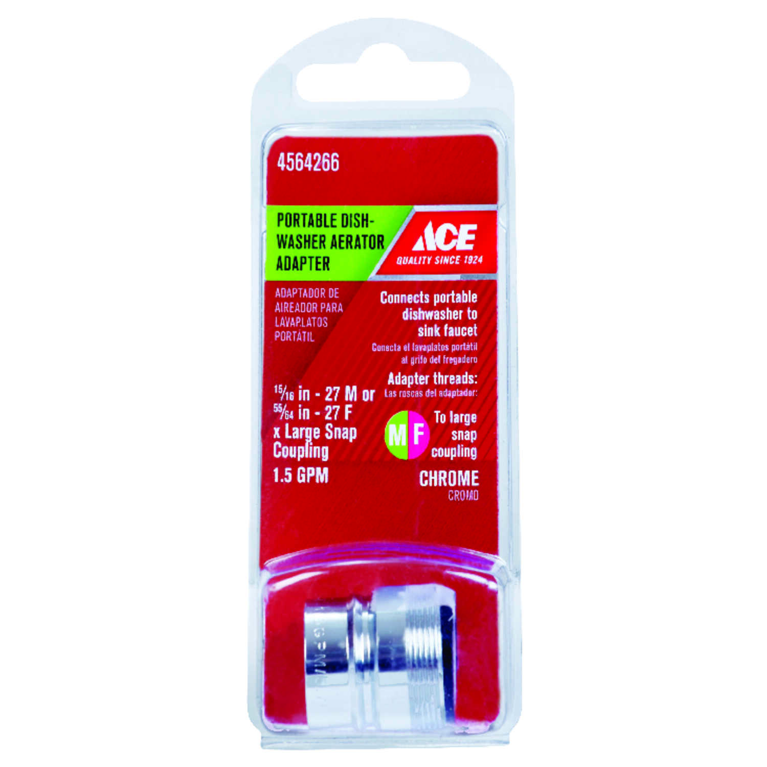 Ace  Aerator Adapter  15/16 in.  x 55/64 in.  Chrome