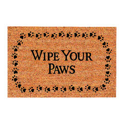 DeCoir  Wipe Your Paws  Tan/Black  Coir  Nonslip Door Mat  18 in. L x 30 in. W