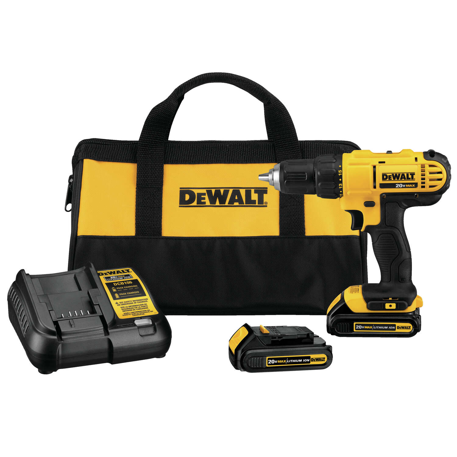 DeWalt 20 V 1/2 in. Brushed Cordless Compact Drill Kit (Battery & Charger)