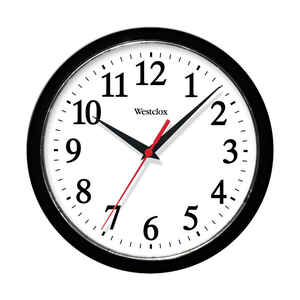 Westclox  10 in. L x 9 in. W Indoor  Classic  Analog  Wall Clock  Plastic  White