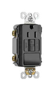 Pass & Seymour  15 amps 125 volt Black  GFCI Outlet  5-15R  1 pk