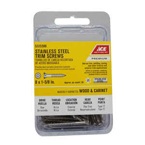Ace  No. 8   x 1-5/8 in. L Star  Flat Trim Head Stainless Steel  Trim Screw  50 pk