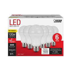 FEIT Electric  A19  E26 (Medium)  LED Bulb  Warm White  100 Watt Equivalence 6 pk