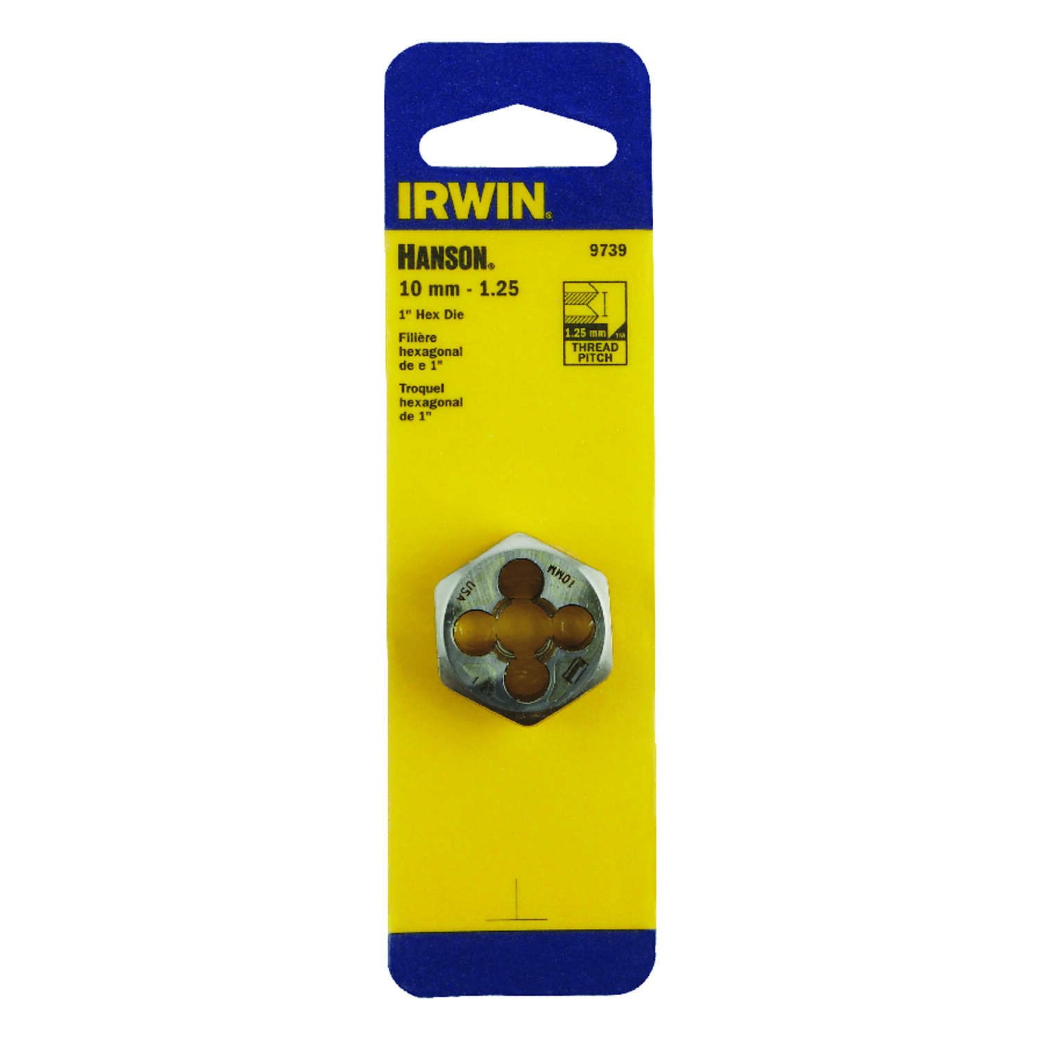 Irwin  Hanson  High Carbon Steel  Metric  Hexagon Die  10mm-1.25  1 pc.