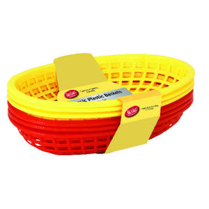 Tablecraft  9 in. L Red/Yellow  Plastic  Food Baskets
