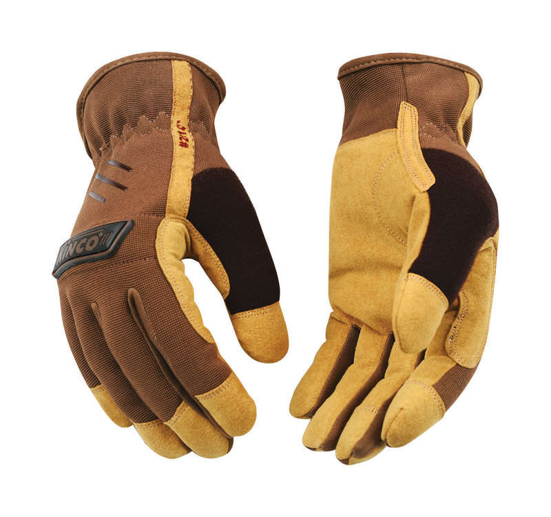 Kinco  Men's  Outdoor  Polyester/Spandex Blend  Driver Gloves  Brown  L  1 pair