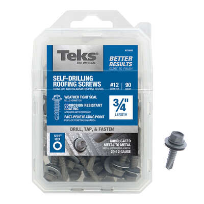 Teks No. 12 x 3/4 in. L Hex Washer Head Roofing Screws 90 pk
