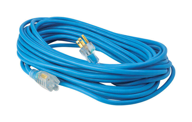 Woods  Indoor and Outdoor  50 ft. L Blue  Extension Cord  16/3