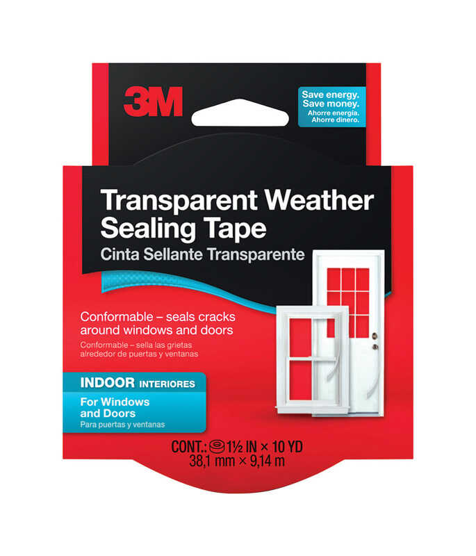 3M  30 in. L Transparent  Weather Sealing Tape  For Seal Cracks