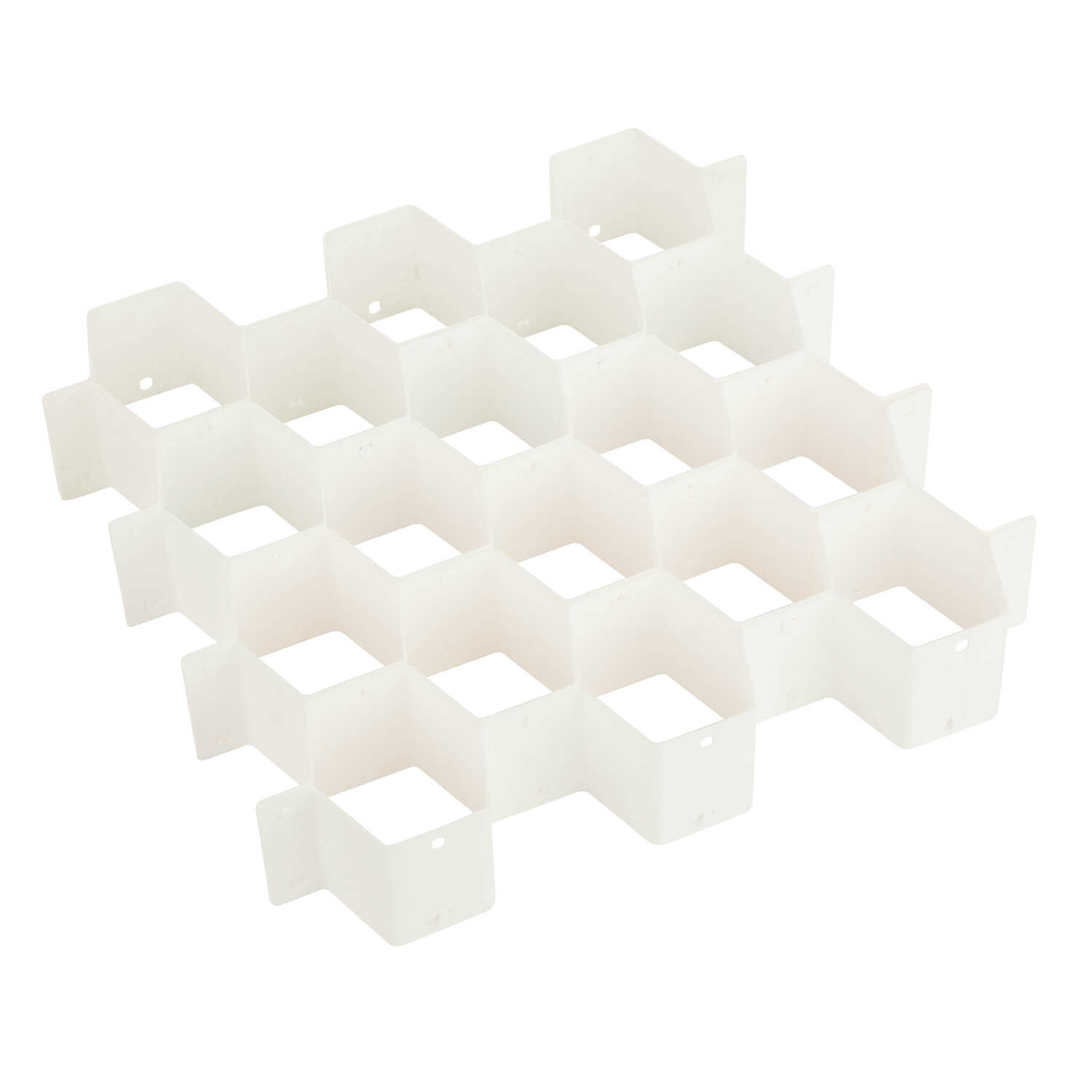Honey Can Do  3 in. H x 13 in. W x 15 in. L White  Plastic  Adjustable Drawer Organizer