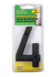 Hy-Ko  4 in. Bronze  4  Nail-On  Metal  Number