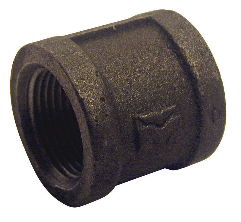B & K  1/2 in. FPT   x 1/2 in. Dia. FPT  Black  Malleable Iron  Coupling