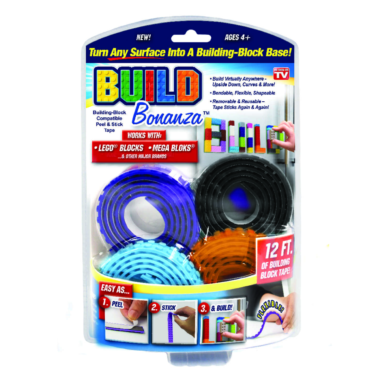Build Bonanza  As Seen on TV  Assorted  36 in. L x 0.5 in. W Lego Tape