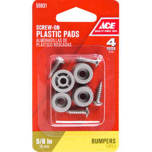 Ace  Plastic  Bumper Pads  Gray  Round  5/8 in. W 4 pk