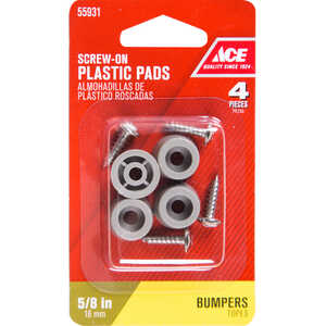 Ace  Plastic  Bumper Pads  Gray  5/8 in. W 4 pk Round