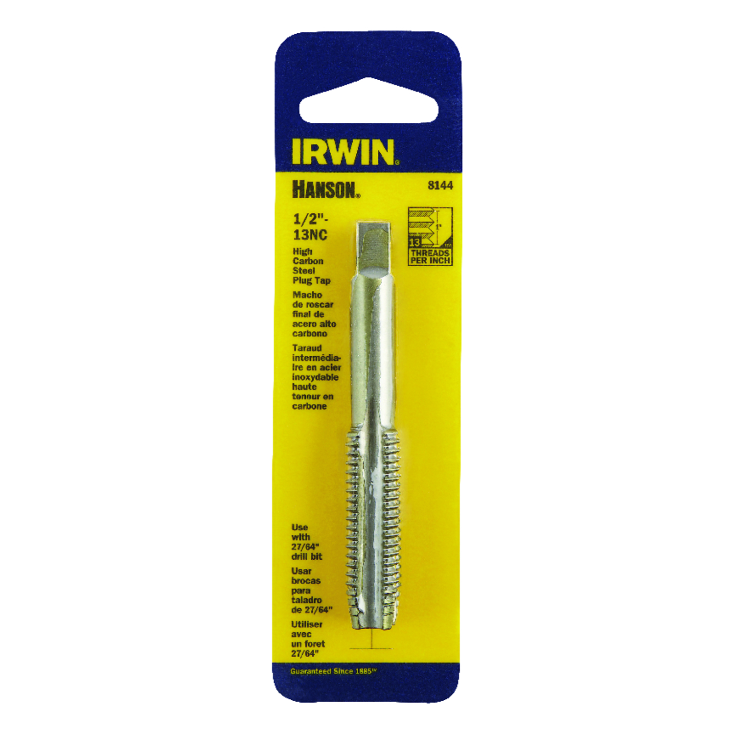 Irwin  Hanson  High Carbon Steel  SAE  Fraction Tap  1/2 in.-13NC  1 pc.