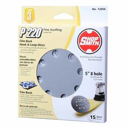 Shopsmith  5 in. Aluminum Oxide  Hook and Loop  Sanding Disc  220 Grit Very Fine  15 pk