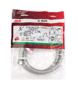 Ace  3/8 in. Compression   x 3/8 in. Dia. Compression  Braided Stainless Steel  36 in. Supply Line