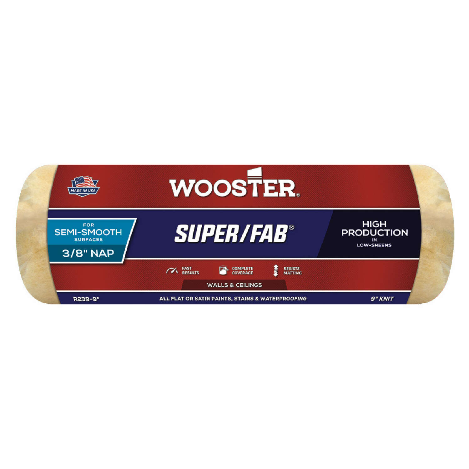 Wooster  Super/Fab  Knit  9 in. W x 3/8 in.  Regular  Paint Roller Cover  1 pk