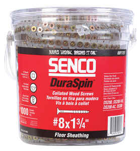 Senco  DuraSpin  No. 8   x 1-3/4 in. L Square  Flat Head Yellow Zinc-Plated  Steel  Wood Screws  100