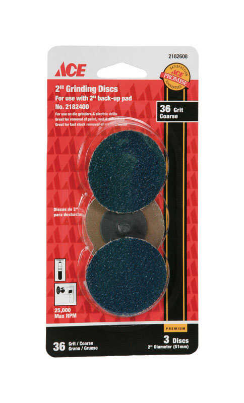 Ace  Aluminum Oxide  2 in. 36 Grit Coarse  Grinding Disc  Twist and Lock  3 pk