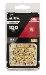 Ace  Small  Bright Brass  5/8 in. L Cup Hook  8 lb. 100 pk Brass