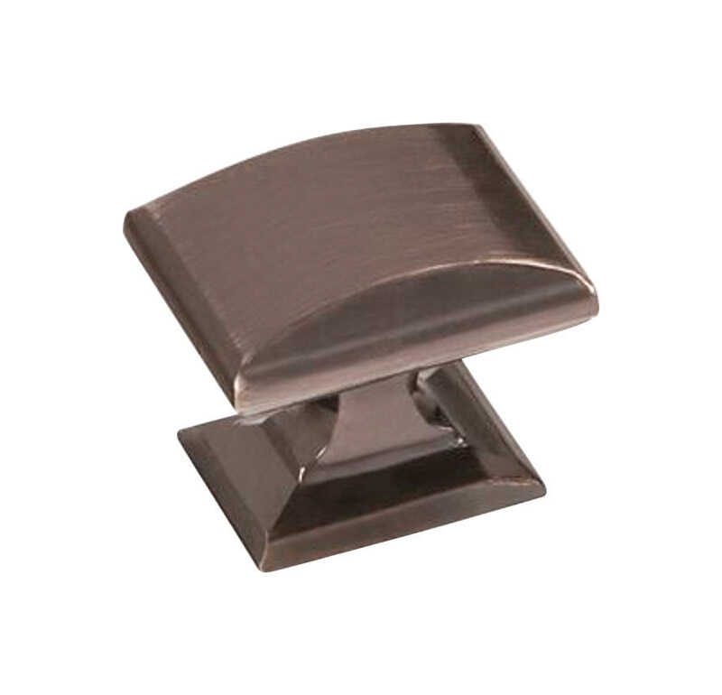 Amerock  1-1/4 in. L x 1/1/4 in. Dia. Candler Collection  Rectangle  Cabinet Knob  1-1/8 in. Gunmeta